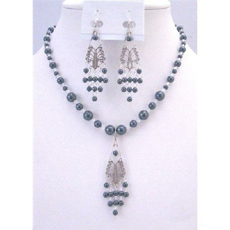 NSC762  Affordable Tahitan Pearls Earrings Swarovski Clear Crystals Necklace