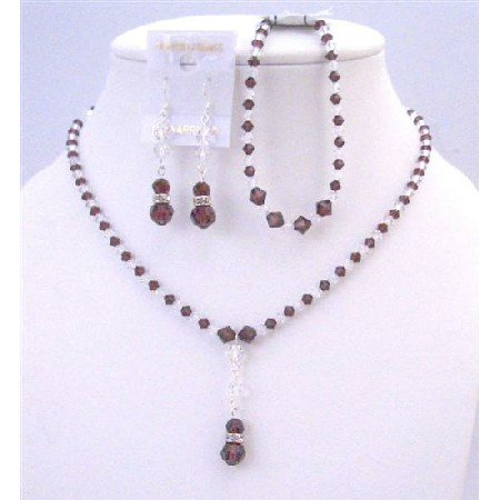 NSC771  Burgundy & Clear Crystals Combo Necklace Set w/ Bracelet Complete Set