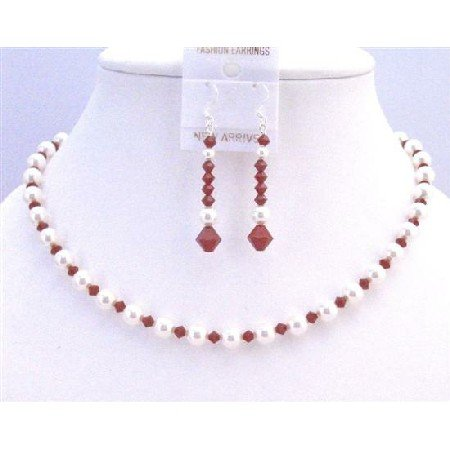 NSC774  Seduction Claret Swarovski Crystals w/ Pure White Pearls Necklace Set