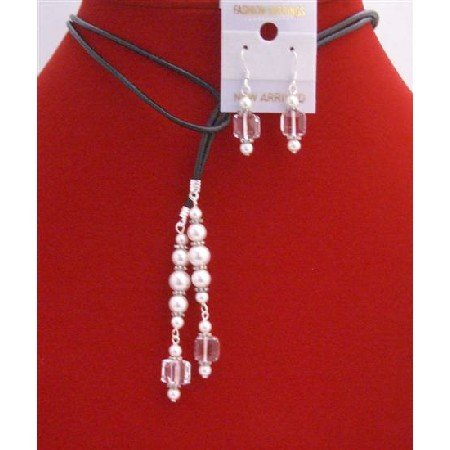 NSC777  Clear Cube Crystals White Pearls Lariat Necklace & Sterling Earrings