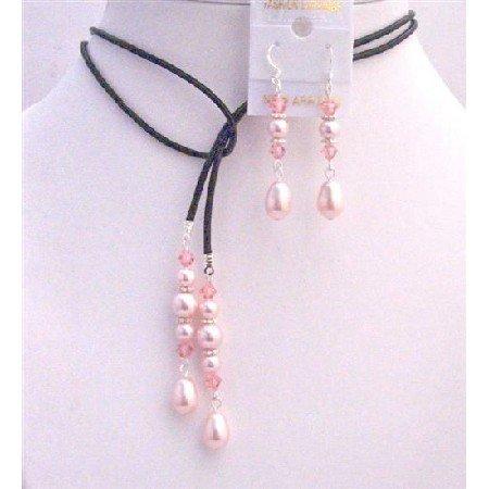 NSC778  Rosaline Pearls Teardrop w/ Rose Crystals Lariat & Earrings Jewelry