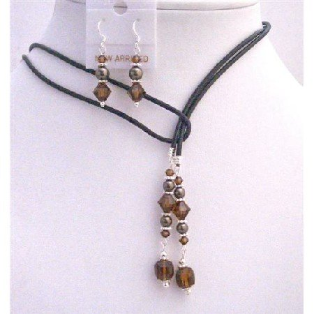 NSC783  Brown Mocca Pearls Jewelry With Smoked Topaz Crystals Jewelry Set