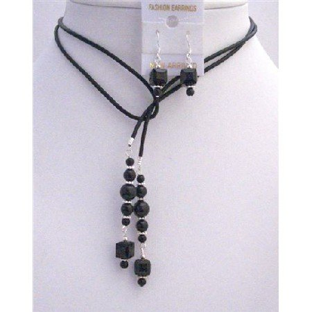 NSC785  Black Pearls Crystals Leather Lariat Necklace Jet Crystal Necklace Set