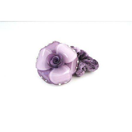 HA522  Hair Doodle Rubber Band Purple Metal Flower Band Hair Rubber Band