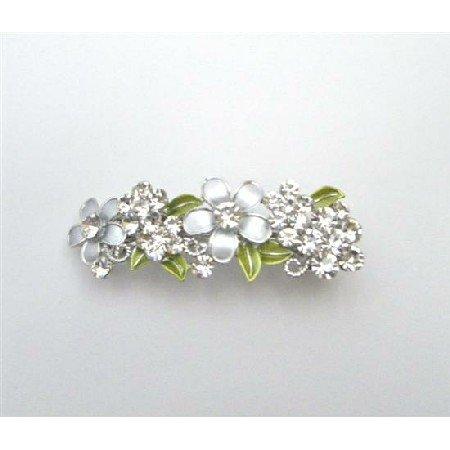 HA512  Perfect Bridal Hair Barrette FLowers In Grey Diamond & White Hair Clip