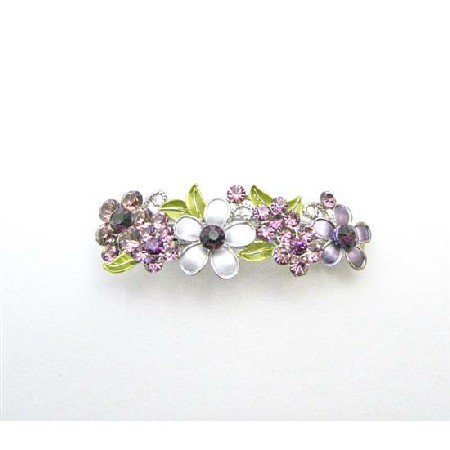 HA511  Amethyst Barrette Flowers Painted In Purple Crystals Wedding Hair Clip