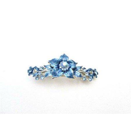 HA513  Elegant Hair Barrette Blue Indigo Enamel Flower Hair Clip Barrette