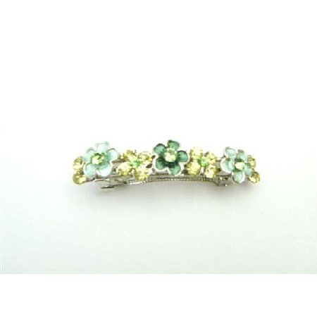 HA516  Green Jonquil Crystals Flower HAIR Ornament BARRETTES