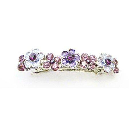 HA518  Crystals Hair Accessories Purple Flower Barrette w/ Amethyst Crystals