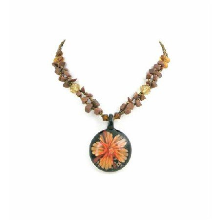 N810  Round Glass Pendant Self Designed With Tiger Eye Nugget Necklace