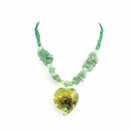 N812  Green Tiny Beads Jade Nugget Holding Glass Heart Pendant Necklace