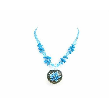 N813  Tiny Turquoise Glass Bead Glass Leaf Pendant Turquoise Nugget Necklace