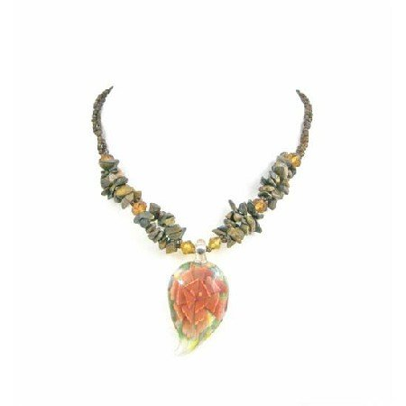 N815  Glass Leaf Pendant Strung Tiny Glass Bead Tiger Eye Nuggets Necklace