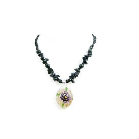 N817  Black Nugget Necklace Holding Glass Pendant That Has Flower Painted