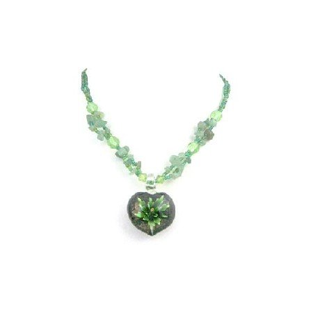 N819  Jade Nugget Tiny Glass Beads Painted Pendant Delicate Jewelry Necklace