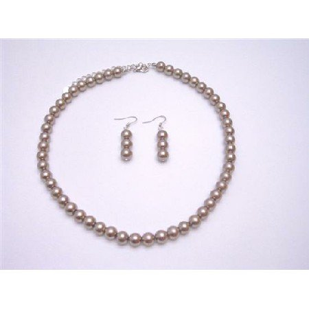 UNS001  Synthetic Pearls Brown Pearls Necklace & Earrings Set