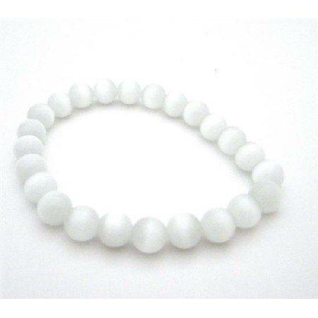 UBR201  White Cat Eye Bracelet Stretchable Bracelets 8mm