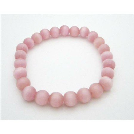 UBR203  Stylish Delicate Pink Cat Eye Stretchable Bracelet