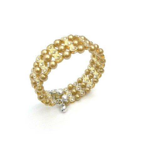 UBR208  Golden Pearls Cuff Bracelet Bangle/Stretchable Bracelet