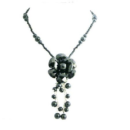 UNE243  Black Flower Stylish Jet Black Glass Flower Inexpensive Pearl Necklace
