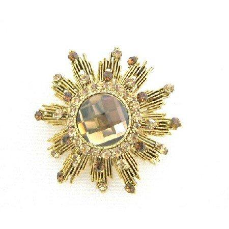 B399  Smoked Topaz Lite Colorado Brooch Sparkling Antique Gold Brooch