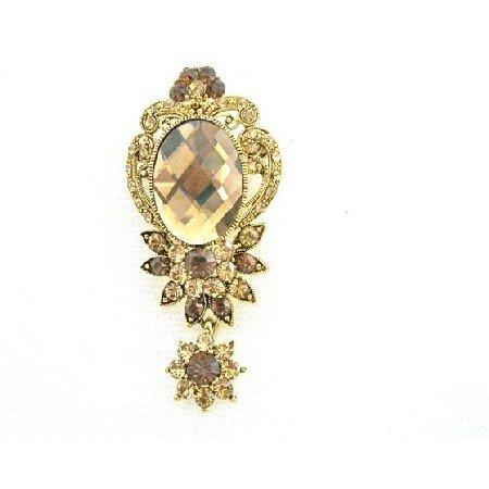 B400  Golden Dangling Brooch w/ Sparkling Smoked Topaz Lite Colorado Brooch
