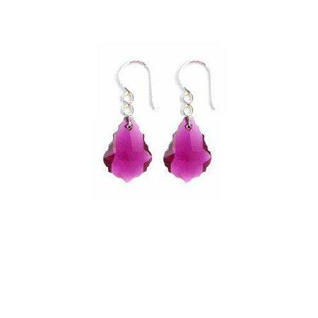 ERC630  Ruby Baroque Crystals Sterling 92.5 Hook Earrings