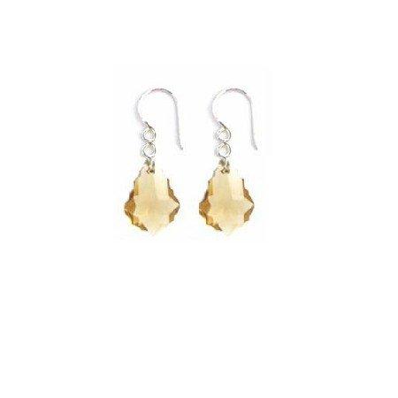 ERC633  Bridemaids Baroque Lite Colorado Crystals Sterling 92.5 Earrings