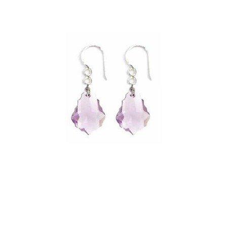 ERC634  Baroque Lite Amethyst Crystals Sterling 92.5 Earrings