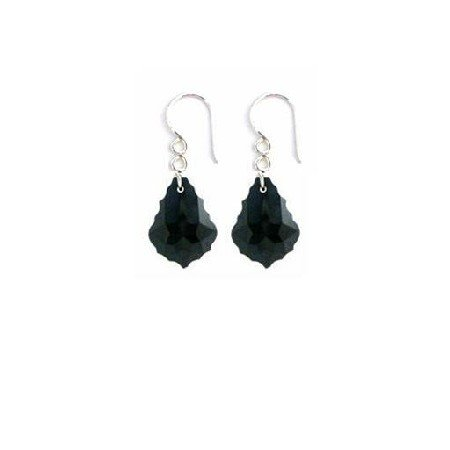 ERC635  Baroque Crystals Earrings Sterling 92.5 Black Jet Crystals Earrings