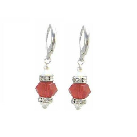 ERC636  Jewelry Genuine Lite Siam Red Crystals W/ Diamond Spacer