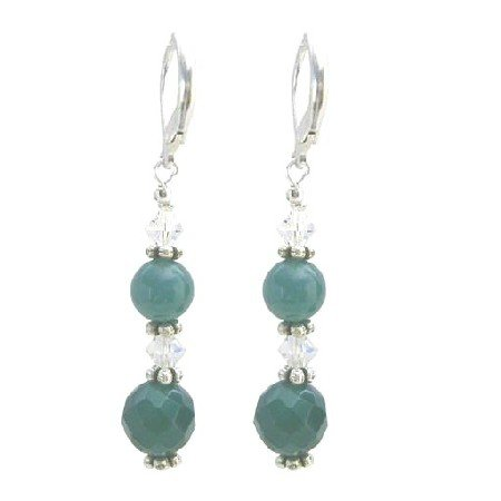 ERC640  Multifaceted 10mm Jade Glass Beads Stone With AB Crystals Earrings