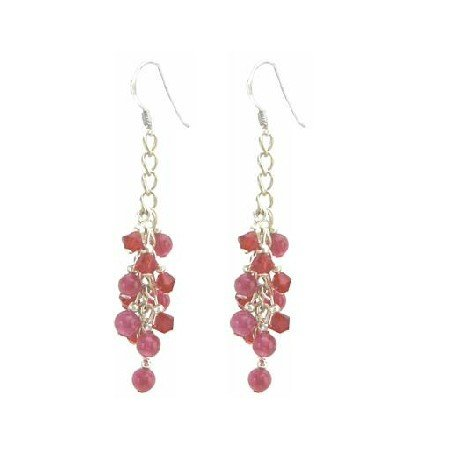 ERC646  Fabulous Stunning Earrings Sexy Red Crystals & Ruby Stone