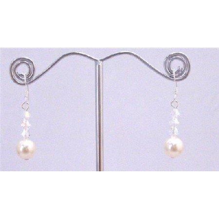 ERC647  Ivory Swarovski Pearls AB Crystals Cute Earrings 92.5 Earrings