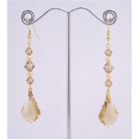 ERC648  Lite Colorado Baroque Pendant Gold Pearls In Gold Hook Earrings