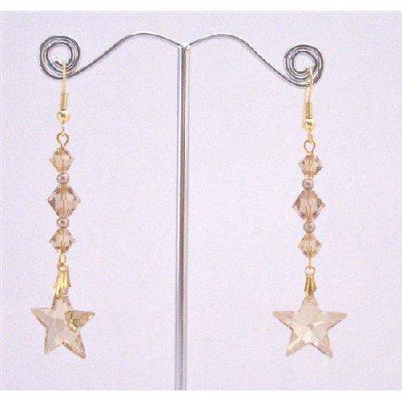 ERC649  Golden Shadow Star Earrings With Lite Colorado Bicone Bead Earrings