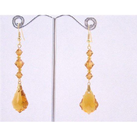 ERC650  Swarovski Topaz Baroque 22mm Crystals Pendant Beads Gold Hook Earrings