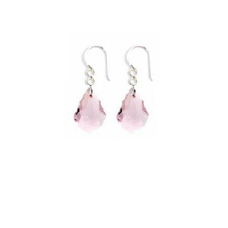 ERC653  Dainty Sterling Earrings Swarovski Rose Crystals Earrings