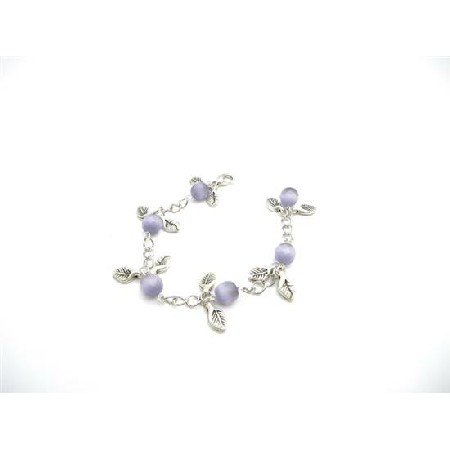 TB921  Wedding Gift Purple Cat Faceted Leaves Charm Leave Bracelet Stunning chain Bracelet