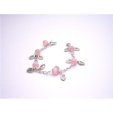 TB922  Cool Christmas Gift Affordable Wedding Gift Pink Cat Faceted Beads With Leaves Charm Bracelet