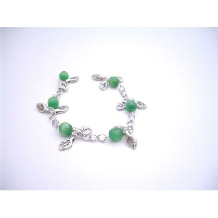 TB924  Jade Stone Bracelet Faceted 8mm Jade Cat Eye Bracelet Dangling Bracelet