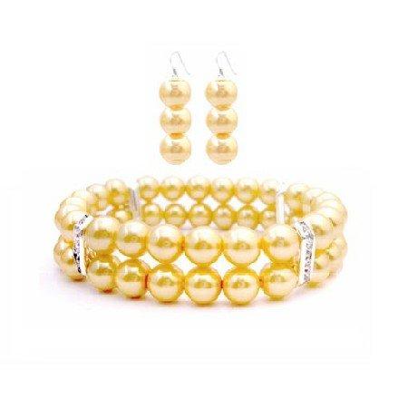 TB939 Double Stranded Bracelet Prom Jewelry W/ Silver Rondells & Matching Earrings Set