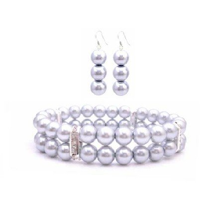 TB941  Cheap Jewelry Silver Grey Jewlery Stretchable Double Stranded Bracelet & Earrings Set