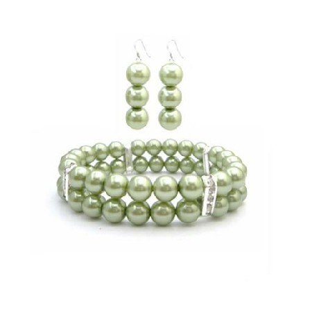 TB943  Bridal Wedding Green Pearls Bracelet Earring Gift Inexpensive Jewelry