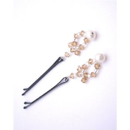 HA544 Bridal Hair Pin In Pearls & Crystals Lite Colorado Swarovski Crystals And Freshwater Pearls