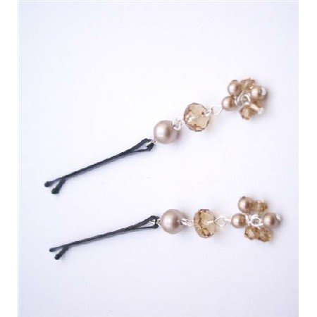 HA541  Powder Almond Pearls & Swarovski Crystals Bobby Pin Bridal Hair Pin