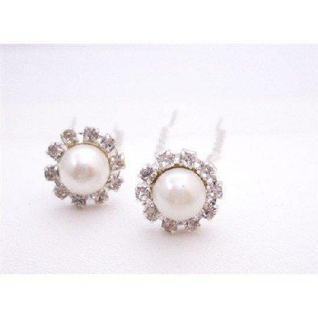 HA546  Elegant Cream Pearls Hair Pin Bridal Hair Accessories