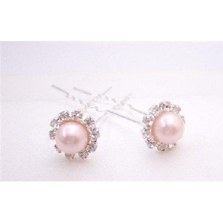 HA547  Wedding Bridal Hair Pin Rose Pearls Hair Pin With CZ
