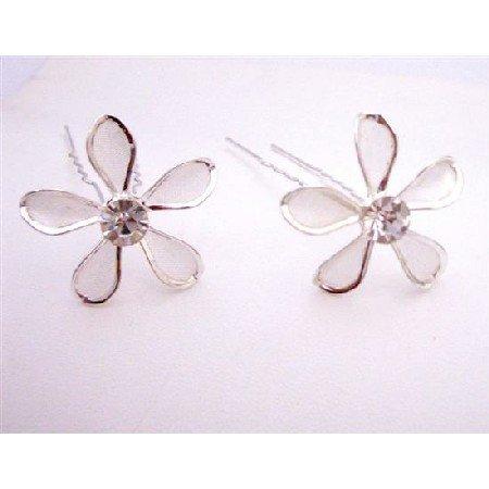 HA557  Bridal Net Hair Pin With Black Diamond Crystals Prom Hair Pin