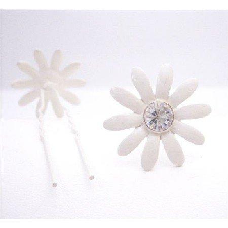 HA550  Bridal Wedding Hair Accessories White Flower Clear Crystals Hair Pin